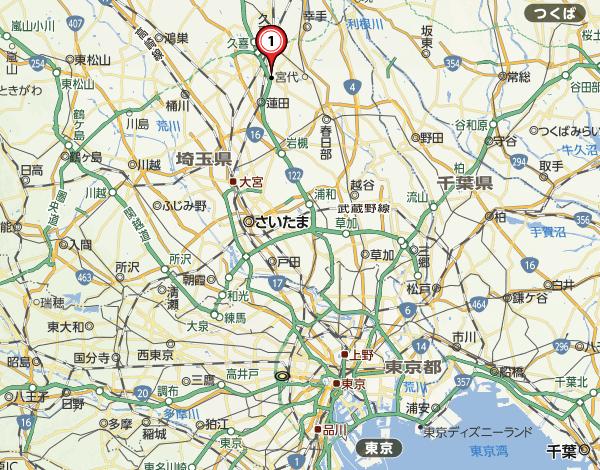 白岡市役所の位置|Yahoo 地図より